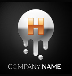 letter h splash logo golden dots silver bubbles vector image
