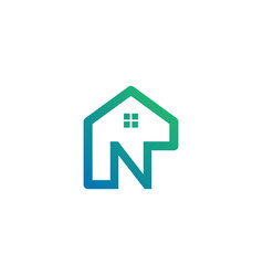 Letter n architect home construction creative vector