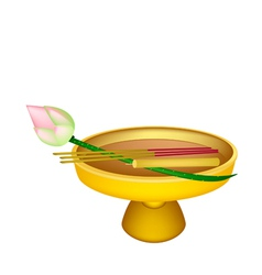 Lotus with Joss Sticks and Candle on Golden Tray vector
