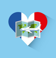 Love france heart travel vector