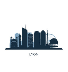 lyon skyline monochrome silhouette vector image