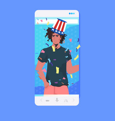Man in festive hat with usa flag celebrating 4th vector