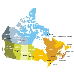 Map of provinces and territories of Canada vector image