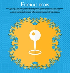 Map pointer icon Floral flat design on a blue vector