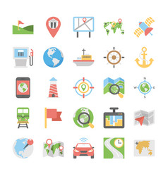 Maps and navigation flat icons set 2 vector