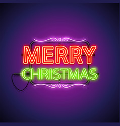 merry christmas neon sign on purple vector image