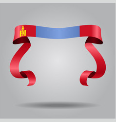 Mongolian flag wavy ribbon background vector