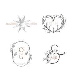 monogram wedding luxury collection modern vector image