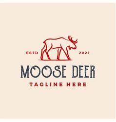 moose deer dry ink brush logo icon design vector image