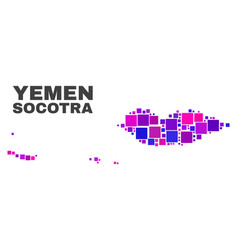 Mosaic socotra archipelago map of square items vector