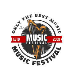 music festival icon harp vinyl record and notes vector image