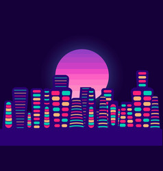 Night city on a sunset background retro panorama vector