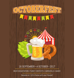 Octoberfest promotional poster with food and drink vector