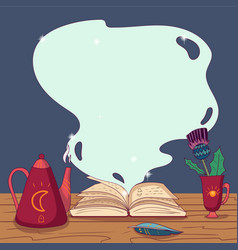 Open magic book with spells quill pen teapot and vector