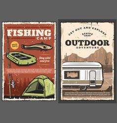 Outdoor adventure fishery sport camping van vector