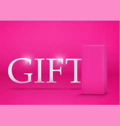 Pink gift box on pink background vector