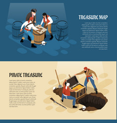 Pirates isometric banners vector