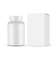 plastic pills jar with cardboard box vector image