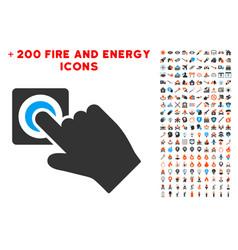 Push alarm button icon with bonus energy clipart vector