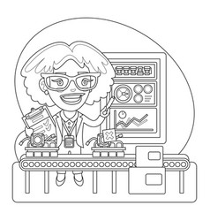 quality inspector coloring page vector image