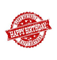 Red grunge happy birthday stamp seal watermark vector