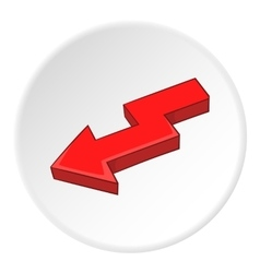 Red left arrow icon cartoon style vector image