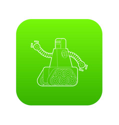 Robot with caterpillar track icon green vector