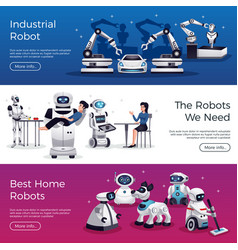 robots horizontal banners vector image