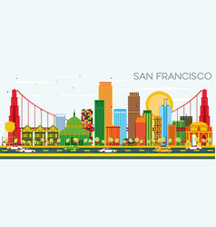 San francisco skyline with color buildings and vector