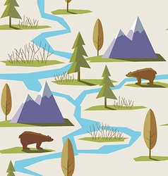 Seamless winter mountain pattern vector