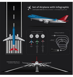 Set of airplane with infographic isolated vector