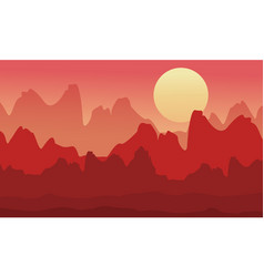 Silhouette of cliff at morning scenery vector