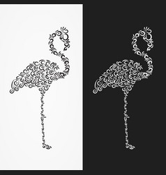 Silhouette of the heron of their ornate shapes vector