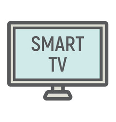 smart tv colorful line icon household appliance vector image
