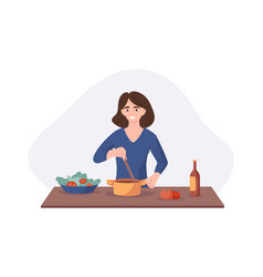 smiling woman cooking on kitchen table wife vector image
