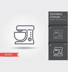 stationary mixer line icon with editable stroke vector image