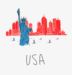 symbol america statue liberty vector image