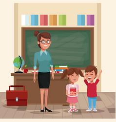 Teacher with kids in classroom vector