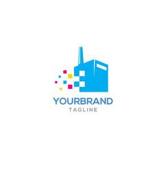 tech factory logo design vector image