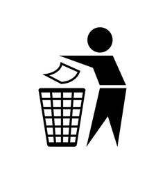 Trash bin sign vector image