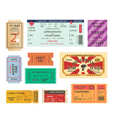 Vintage tickets paper coupons for circus cinema vector