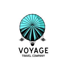 Voyage travel company logo retro camping business vector