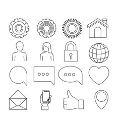 white background of silhouette tech share icons vector image