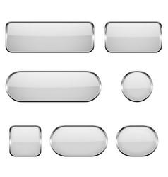 white glass oval round square buttons with vector image