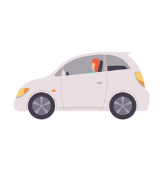 White mini car with female driver side view vector