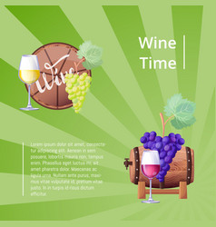 wine time green striped poster vector image