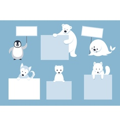 Arctic Animals Characters Show Blank Signs vector image