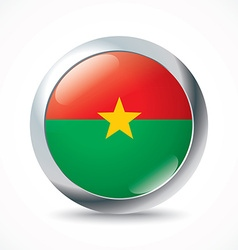 Burkina Faso flag button vector image