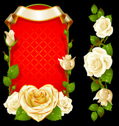 set of floral decoration white roses green vector image