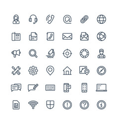 thin line icons set with contact us vector image vector image